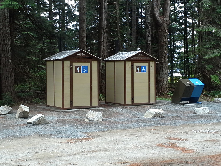 Pit toilets fully installed at Smelt Bay Provincial Park, Cortes Island